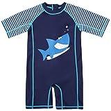 CharmLeaks Baby - Einteiler Kurzarm Badeanzug für Säugling Kinder Hai UV-Schutz Dunkelblau 50+ 6-12 Monate