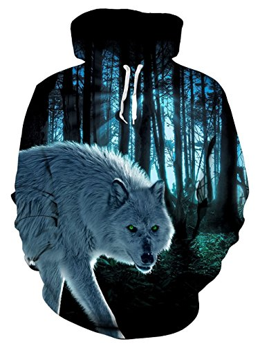 Idgreatim Unisex Kapuzenpullover 3D Bedruckte Tunnelzug Pullover Swearshirt Mit Taschen Dame-Wolf