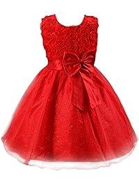 Y-BOA Robe de Mariage Fille Demoiselle Baptême Enfant Robe Tutu Dentelle Floral Nœud Princesse
