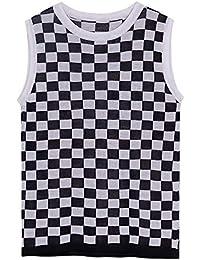 SGHTRHXUT suéter Cazadora Femenina de Hip-Hop en la Parte Inferior Chaleco de Black White Plaid, Blanco, Código Uniforme