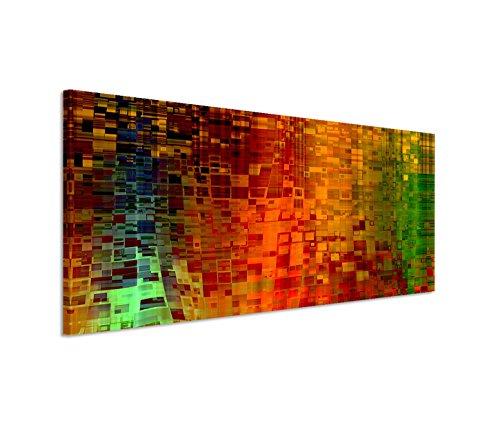 Paul Sinus Art 150x50cm Leinwandbild auf Keilrahmen Kunst Hintergrund abstrakt Pixel rot grün gelb Wandbild auf Leinwand als Panorama (Abstrakte Kunst Rot)