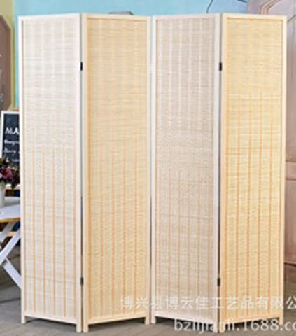 Decorative Freestanding Woven Bamboo 4 Panel Hinged Privacy Screen Portable Folding Room Divider