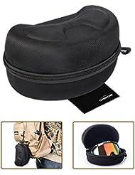 Overmont funda caja protector duro para gafa de esquí, gafa de nieve ski snowboard con cremallera talla L con Overmont paño de limpieza