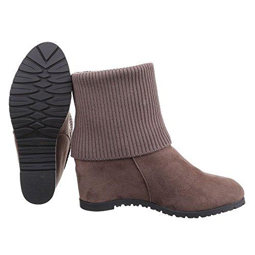 Ital-Design , chaussures compensées femme Braun Grau