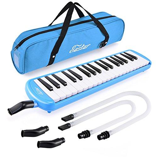 Eastar 37Key melodica strumento con bocchino Air tastiera di pianoforte, borsa da trasporto blu
