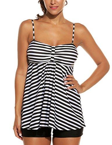 Avidlove Tankini Set Two Piece Damen Mit Höschen Monokini Neckholder Badeanzug Swimwear Plus Size Strandbekleidung XXX-Large,  Stil 1:Schwarz