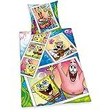 Herding 447537050 Bob Esponja ropa de cama, funda de almohada de 80 x 80 cm y funda de edredón de 135 x 200 cm, 100% algodón, diseño de
