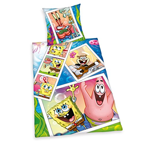 ttwäsche Sponge Bob, Kopfkissenbezug 80 x 80 cm und Bettbezug 135 x 200 cm, 100% Baumwolle, Renforce ()