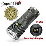 LED Taschenlampe 50000Lumens, Super Hell 18 x XM-L T6 Power & Modus Digitalanzeige LED Taschenlampe By huichang (Silber)