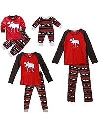 SPECOOL Pijamas de Navidad Familia Pijamas Navideñas Adultos Pijama Familiares Manga Larga Hombre Mujer Niños Niña Chica Bebe Trajes Navideños para Mujeres Ropa de Noche Homewear Invierno