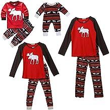 SPECOOL Pijamas de Navidad Familia Pijamas Navideñas Adultos Pijama Familiares Manga Larga Hombre Mujer Niños Niña