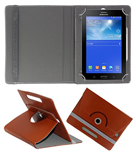 Acm Rotating 360° Leather Flip Case For Samsung Galaxy Tab 3 T111 Neo Tablet Tablet Cover Stand Brown  available at amazon for Rs.149