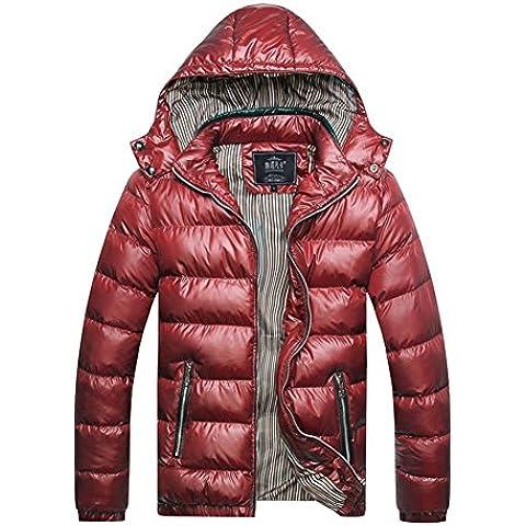 LaoZan Uomo Giacca con cappuccio Cappotto invernale outwear Maniche Lunghe M Rosso