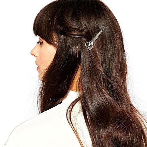 BakeLIN Scheren Form Haarspange Haarklammer Haarnadel Haarschmuck 1 Stück (Silber)