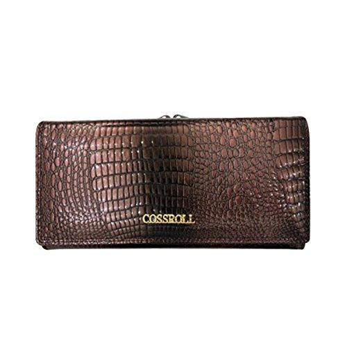 Damen Geldbörse aus Leder Luxus Elegant Wallet Dreiseitige Lang Geldbeutel Frauen Vintag Kreditkarten-Kupplungshalter Kiss Lock Grau -
