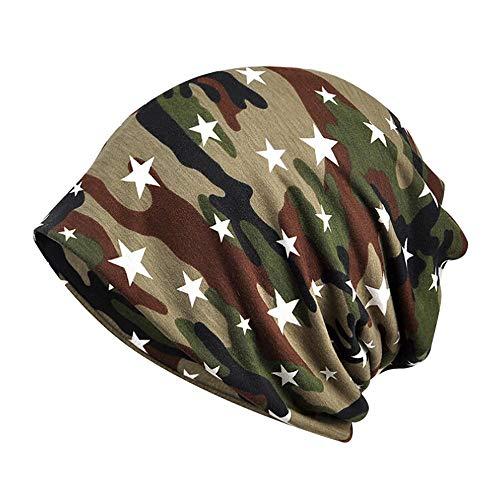 OYSOHE Damen Muslim Hut Stretch Turban Hut Kopftuch Wrap/Spitze Blume/Streifen/Camouflage/Punkt(BC-Camouflage,Einheitsgröße)