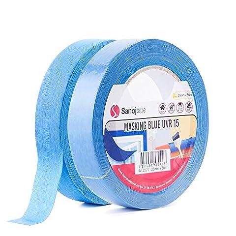 Sanojtape Blue Pro Masking Tape (2 Pack) UV Resistant 25mm x 50m
