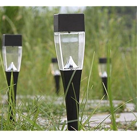 MJEL Passaggio pedonale mini solare paesaggio luci percorso giardino terra cantiere vialetto prato esterno impermeabile 5PCS argenteo e nero , black