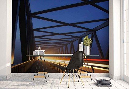 Vlies Fototapete Fotomural - Wandbild - Tapete - Brücke Rahmen Weg Beleuchtung - Thema Architektur - XL - 368cm x 254cm (BxH) - 4 Teilig - Gedrückt auf 130gsm Vlies - 1X-46004V8