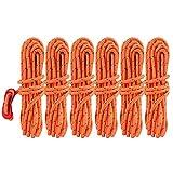 Cuerdas para tienda de campaña de KUNGIX, cuerda reflectante de 4 m, con tensores de aluminio, para toldos, tiendas de campaña y doseles, color dorado, pack de 6 unidades
