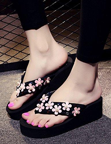 Été des sandales Mode pantoufles Chaussons féminins été Pantoufles de plage de plage antidérapante Côté épais de la pantoufle féminin Pantoufles Couleur / taille facultative ( Couleur : D , taille : E C