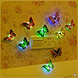 VWH 10pc Colorful Butterfly Wall Stickers LED Flashing Night Home Decor Child Bedroom Decorations