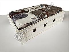 Idea Regalo - M&O Completo Lenzuola Letto Matrimoniale 2 PIAZZE Microfibra Stampa 3D Cuori Grigi Shabby No Stiro Ottima Idea Regalo Confezione Cassetta Shabby in Legno Colore Bianco