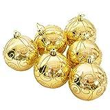 Weihnachtsbaum Hängende Dekoration Gold Glitter Weihnachtskugel Weihnachtskugeln Dekoration Packung Mit 6