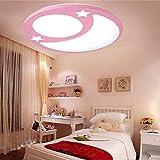 Sflash warmweiß Deckenleuchte Dechenlampe Kinderleuchte rosa Mond Stern Design Schlafzimmer Lampe 12W LED für Kinderzimmer