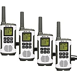 Retevis RT45 Plus Talkie Walkie Sans Licence 16 Canaux Professionnel Rechargeable PMR446 Talkie-Walkie LED VOX Scan Surveillance 10 Tonalité d'appel Talkie Walkies(Argenté, 4pcs)