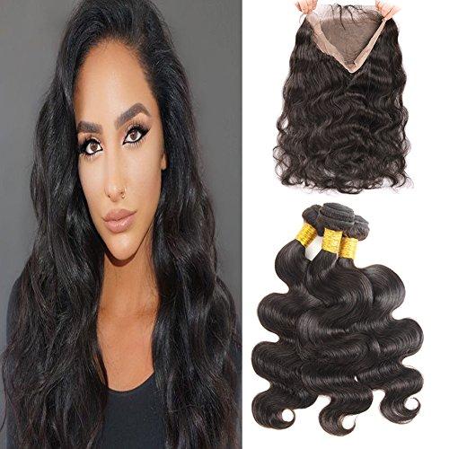 Körper-wellen-haar-verlängerung (Huarisi 360 Frontal mit Bündel Baby Hair Körper Wellen menschliches Haar Verlängerungen 7A Grad Brasilianisches Jungfrau Haar natürlicher Haaransatz für schwarze Faruen 14 16 18 + 12)