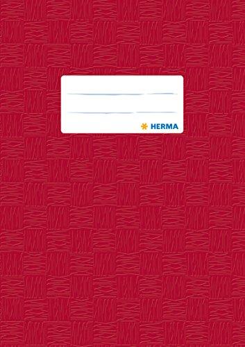 Preisvergleich Produktbild Herma 7430 Heftumschlag DIN A5, Kunststoff, gedeckt mit Baststruktur, 1 Stück, weinrot