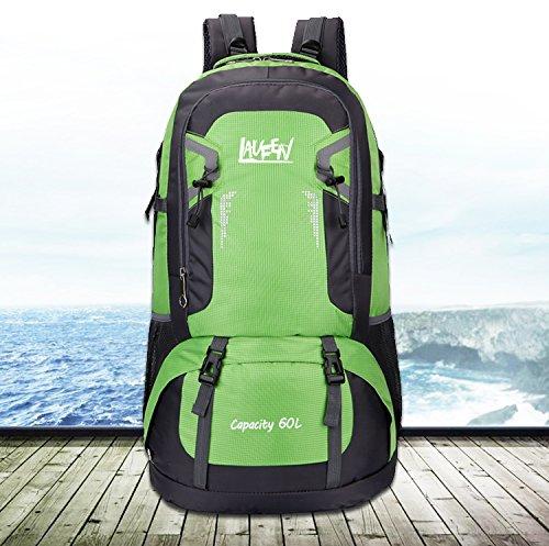 Herren Rucksäcke 60 Liter Laufen Freizeit Wasserdicht Nylon Großer Trekkingrucksack Perfekt zum Wandern Bergsteigen Reisen und für Sport und Camping Grün