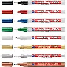 Edding 780-9-009 780 creative - Rotuladores de esmalte (0,8 mm), color dorado, plateado, cobrizo, negro, blanco, azul, rojo y verde 780 surtidos metálico
