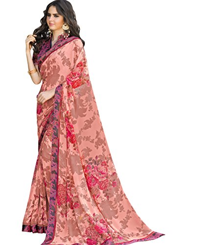Indian Ethnicwear Bollywood Faux Georgette Peach Coloured Printed Saree (Peach Georgette)