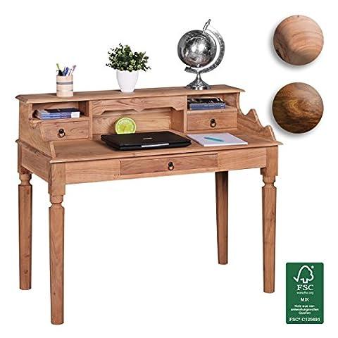 FineBuy Schreibtisch Massivholz Konsole   Sekretär 115 x 100 x 60 cm mit 3 Schubladen und Fächern   Konsolentisch Landhaus-Stil aus Natur-Holz modern   Arbeits-Tisch mit vielen Ablagemöglichkeiten