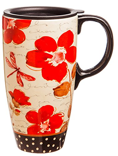 Red Poppy Flower Symphony Ceramic Travel Mug With Gift Box by Evergreen Enterprises