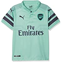 Puma Arsenal FC Third Replica SS Kids with EPL Sponsor Logo Camiseta, Infantil, Biscay Green/Peacoat, 116