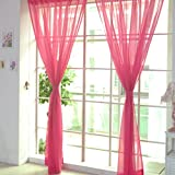 Ouneed Fashion 2 PCS Pure Color Tulle Door Window Curtain Drape Panel Sheer Scarf Valances (HotPink)