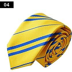 Los hombres de la Vogue corbata de tejido de poliéster de alta calidad de seda para bodas, ocasiones formales de negocios Casual Wear Slim Skinny–rayas–Juego de lazos mejores regalos de Navidad, amarillo