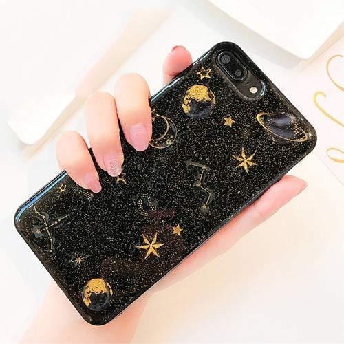 CNDSAIE Hülle Für iPhone XS Xr Xs Max X 5 5 S 6 6 S 7 8 Plus X Planet Star Transparent TPU Telefon Rückseitige Abdeckung Fällen Für iPhone 6 Plus 6Sp Schwarz (Star Iphone 5 Fall)