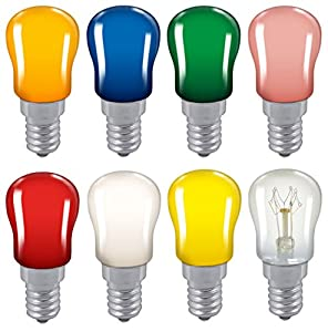 2x Coloured Pygmy 15W SES E14 Small Edison Screw Cap Colour Light bulb Sign Lamp from Crompton