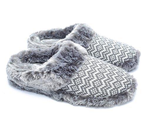 ofoot Damen Cashmere Knit Slippers, Faux Fur Memory Foam Indoor-Outdoor-Schuhe Faux Cashmere