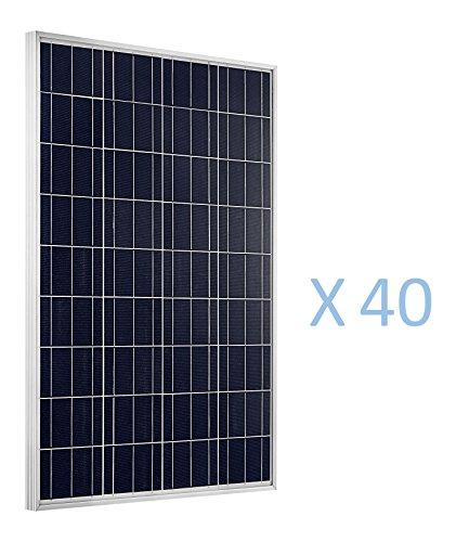 eco-worthy 4kW 40Stück 100Watt 100W Polykristalline Photovoltaik PV Solar Panel Modul 12Volt 12V Akku Ladekabel