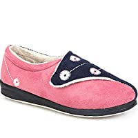 Pavers Touch Fasten Full Slipper with Permalose Sole 308 163 - Pink Multi Size 5 (38)