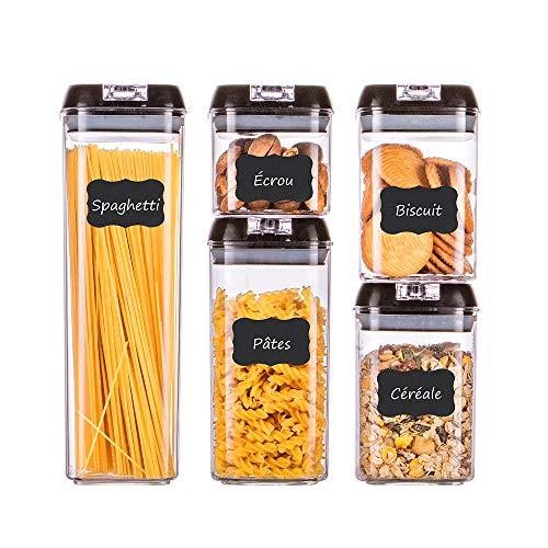 Homelody contenitori alimentari, contenitori pasta,con coperchi set di 5,per la conservazione ideale per zucchero,biscotti,caffè, succhi,pasta-senza bpa