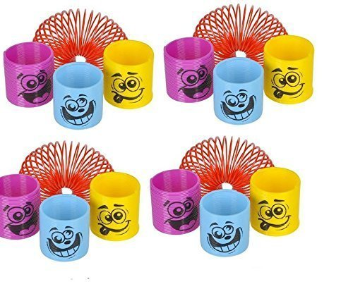 (50) Assorted Colorful 1.38'' Silly Face Springs (Slinkies) ~ Miniature Fun Party Favors ~ Easter Goody Bag ~ Party Gifts ~ Teacher Classroom ~ Stocking Stuffer ~ Toy by RIN (Schauen Slinky)