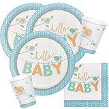 32-teiliges Party-Set Baby shower - Hello Baby Boy Teller Becher Servietten für 8 Personen