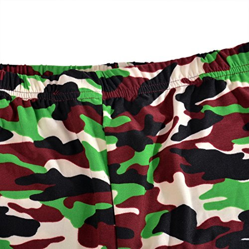 Vertvie Femme Slim Fit Leggings Basic Camouflage Pantalon Crayon Stretch Collant Tight Extensible pour Sport Yoga Fitness Jogging Camouflage Vert Fluo