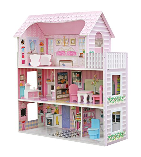 star- ibaby-casa delle bambole con famiglia e mobili modello duplex, multicolore